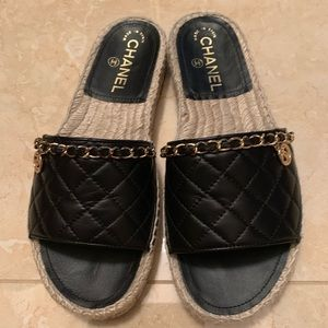 CHANEL Lambskin Quilted CC Espadrille Slip on